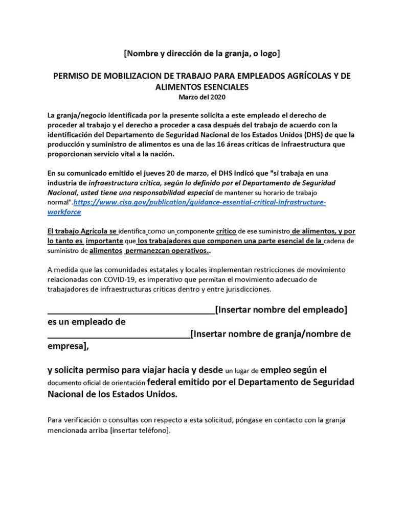 Permission for Essential Food and Agricultural Employee Work-Spanish